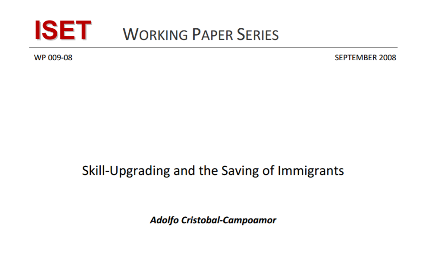 SkillUpgrading and the Saving of Immigrants