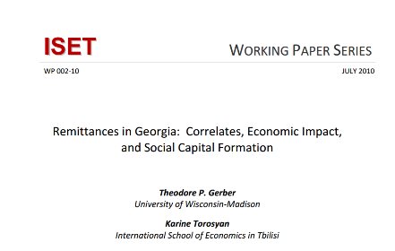 Remittances in Georgia Correlates Economic Impact