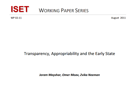 Transparency Appropriability and the Early State